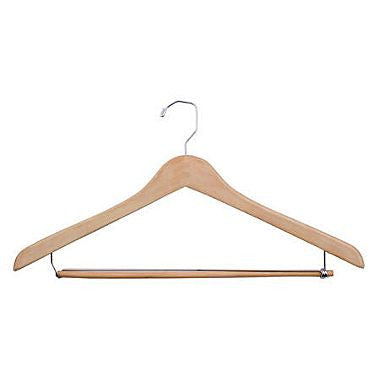 "19"" WOOD SUIT HANGER With LOCKING PANT BAR"