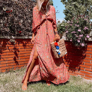 V-neck vintage print lace maxi dress