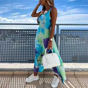 Tie-dye new explosion models printed split slim irregular vest dress