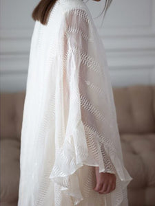 Elegant V-neck ruffled sleeves loose dress