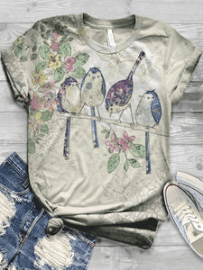 Fashion casual printed top round neck T-shirt