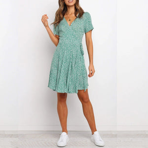 Sexy V-neck print short sleeve lace dress