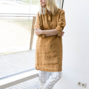 Linen simple style Casual Dress