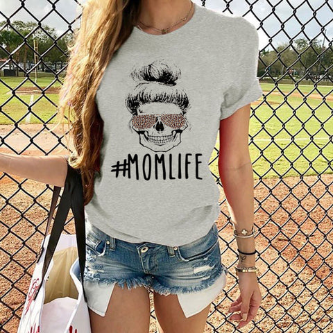 2020 cross-border special for Amazon explosive female shirt #MAMALIFE letter printed round neck short sleeve t-shirt