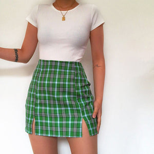 Checked High Waist Pack Hip Hem Split Skirt