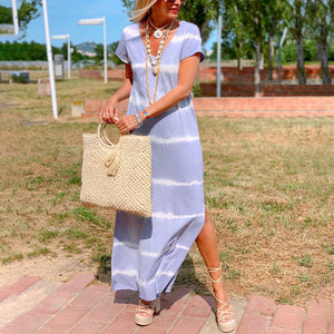 V-neck loose tie-dye printed maxi dress