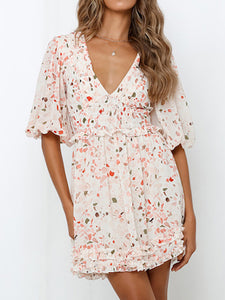 Sexy V-neck floral high waist dress