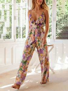 Slim-fit ruffled printed V-neck sling casual jumpsuit