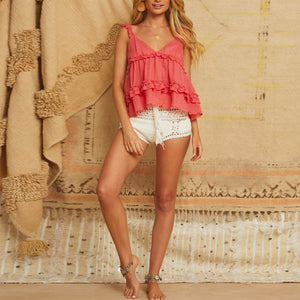 Sexy V-neck jacquard ruffled top