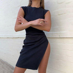 Sexy solid color split retro slim dress