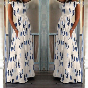 Fashion Elegant High-Waisted Pocket Sleeveless Holiday Maxi Dress