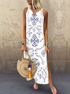 V Collar Floral Printed Loose Maxi Dress