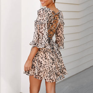 V-Neck Print Stitching Wooden   Ear Mini Dress