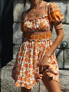 Bohemian printed lantern sleeve halter ruffled mini dress