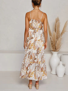 Halter layered tiered print maxi dress