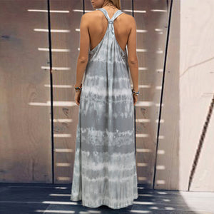 Plus Size Tie Dye Printing Casual Sleeveless Maxi Dress