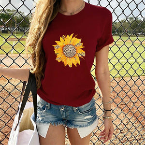 2020 cross-border special for Amazon hot selling women's tops leopard print sunflower print round neck short sleeve t-shirt