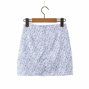 High waist split satin printed short skirt bag hip skirt