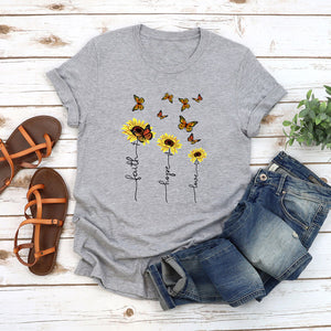 Butterfly crew neck printed casual T-shirt