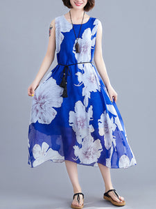 New loose printed chiffon dress