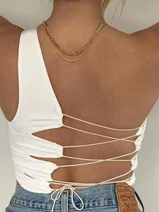 Sexy strapless one-shoulder slim vest