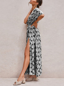 Bohemian holiday style deep V sexy floral short sleeve dress