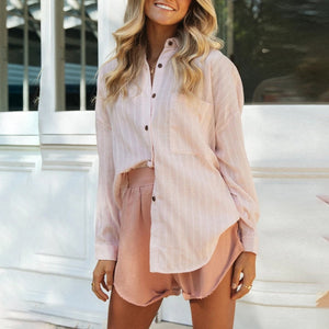 Striped long-sleeved casual shirt single-breasted lapel top