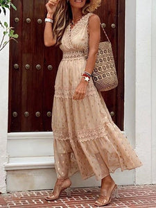 Lace Deep V Neck Sleeveless High Waist Maxi Dress