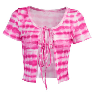 Lace tie-dye sexy short-sleeved T-shirt