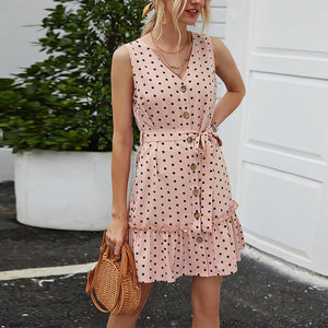 2020 summer new V-neck wave point casual strapless sleeveless dress
