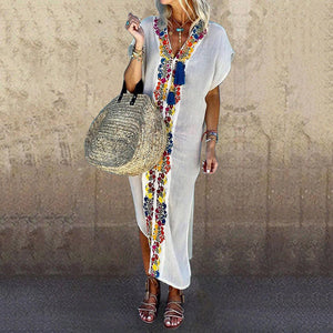 Solid Color Printed V-Neck Split Mid-Length Dress