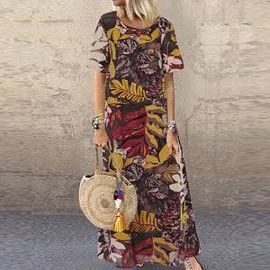 Short Sleeve Cotton Linen Printed Maxi Dress