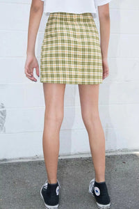 Casual Basic Wild Plaid Retro High Waist Side Split Skirt