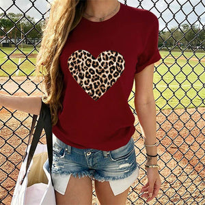 2020 cross-border dedicated to Amazon's hot selling women's shirt leopard print love round neck short-sleeved t-shirt