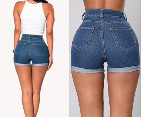 Curled Sexy Hot Pants Dark Dlue Denim Shorts