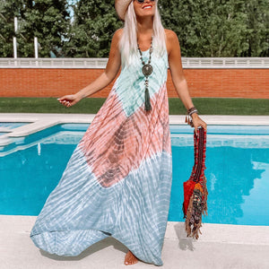 Tie-dye printed maxi dress