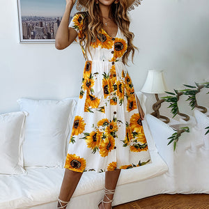 Fashion Print Sunflower Button Female Dress