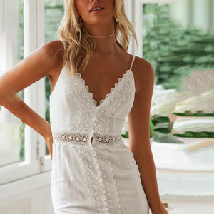 Open-back V-neck lace panel dress