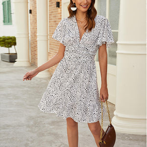 Fashion women's V-neck floral casual dress