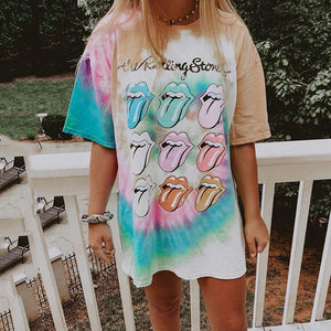 Round neck short sleeve tie-dye pattern casual tee