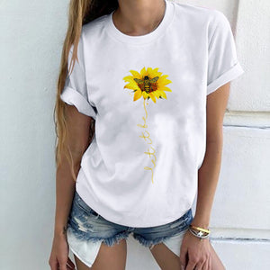 2020 Amazon Hot Selling New Products Foreign Trade Explosion Model Women's Bee Chrysanthemum Printed Round Neck Short Sleeve Women's Top
