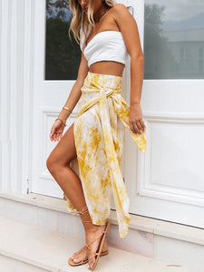 yellow and white tie-dye wrap tie front slit Two-piece set