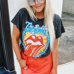 Fun red lips pattern casual short sleeve printed T-shirt