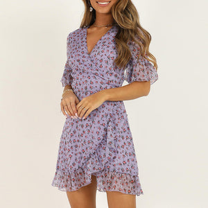 Sexy chiffon short sleeve V-neck mini dress