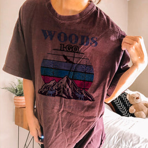 Printed round neck casual basic T-shirt