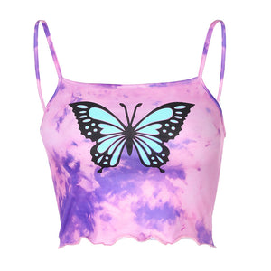 Girls' tie-dye butterfly print dense-edged small vest