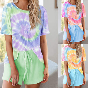 Home wear casual two tie-dye short sleeve pajamas suit