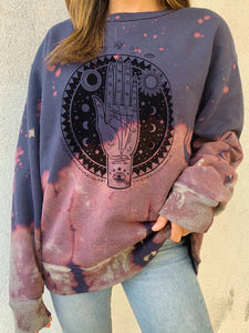 Personalized printed two-tone loose casual sweater