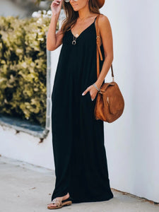 V Neck Solid Color Sleeveless Maxi Dress