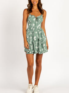 Sleeveless Sling Ruffled Floral Print Dress
